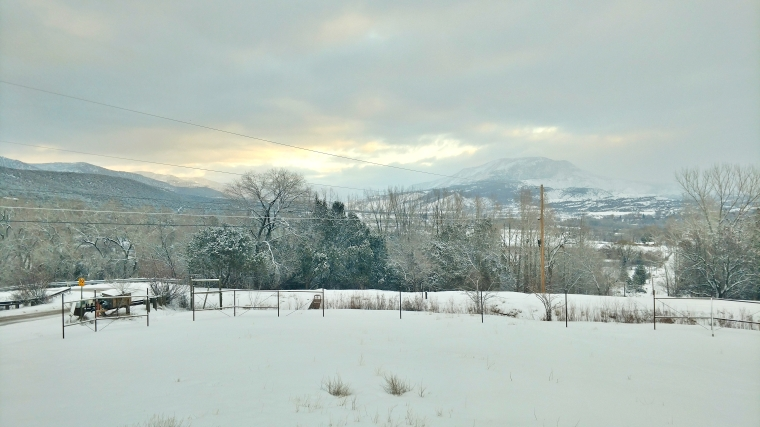 Mountains outside Paonia, Colorado just before sunrise.
